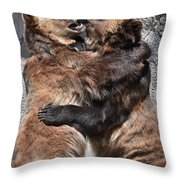 Grizzlies' Playtime 2 Throw Pillow