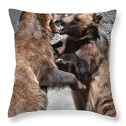 Grizzlies' Playtime 3 Throw Pillow