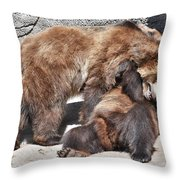 Grizzlies' Playtime 5 Throw Pillow
