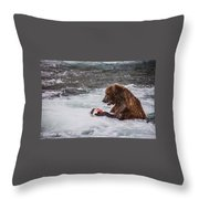 Grizzly Bear Enjoying Lunch Throw Pillow