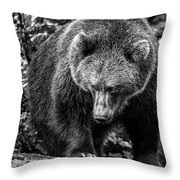 Grizzly Bear In Black And White Throw Pillow