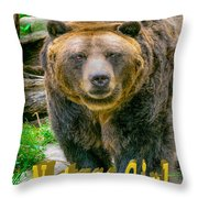 Grizzly Bear Nature Girl    Throw Pillow