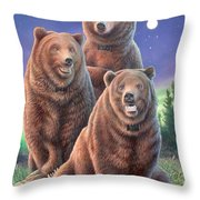 Grizzly Bears In Starry Night Throw Pillow