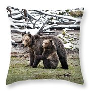 Grizzly Cub Holding Mother Throw Pillow