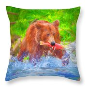 Grizzly Delights Throw Pillow
