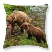 Grizzly Dinner For Two Throw Pillow