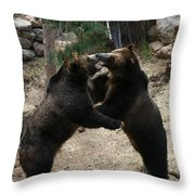 Grizzly Waltz Throw Pillow