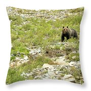 Grizzly Watching People Watching Grizzly No. 2 Throw Pillow