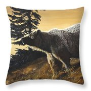 Grizzly With Cub Throw Pillow