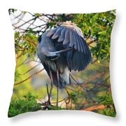 Grooming Blue Heron Throw Pillow