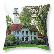 Grosse Point Light Station Throw Pillow