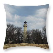 Grosse Point Lighthouse Portrait Throw Pillow