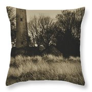 Grosse Point Lighthouse Sepia Throw Pillow