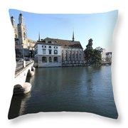 Grossmunster, Wasserkirche And Munsterbrucke - Zurich Throw Pillow