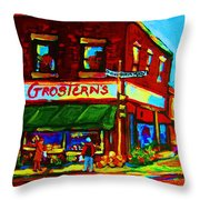 Grosterns Market Throw Pillow