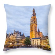 Grote Markt Square In Antwerp Throw Pillow