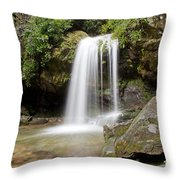 Grotto Falls Great Smoky Mountains Throw Pillow by Jemmy Archer