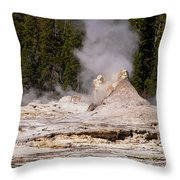 Grotto Geyser Eruption Two Throw Pillow