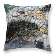 Grotto Of Our Lady Of Lourdes 2 Throw Pillow