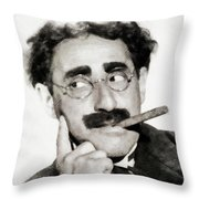 Groucho Marx, Vintage Comedy Actor Throw Pillow