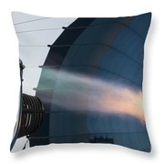 Ground Crew Preparing A Hot Air Balloon Before Takeoff Throw Pillow