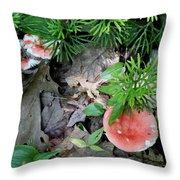 Ground Pine And Fungi Throw Pillow