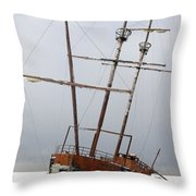 Grounded Ship In Frozen Water Throw Pillow