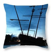 Grounded Tall Ship Silhouette Throw Pillow by Oleksiy Maksymenko