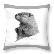 Groundhog Or Woodchuck Throw Pillow