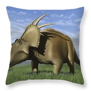 Group Of Dinosaurs Grazing In A Grassy Throw Pillow