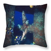 Group Of Fish Swimming Near Prop Throw Pillow