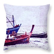 Group Of Fishing Boats Throw Pillow