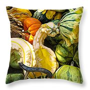 Group Of Gourds Expressionist Effect Throw Pillow