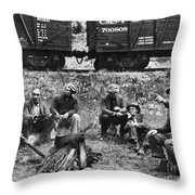 Group Of Hoboes, 1920s Throw Pillow