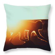 Group Of Macaque Monkeys On The Rooftops In A Urban City Environment Throw Pillow