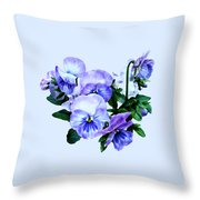 Group Of Purple Pansies And Leaves Throw Pillow