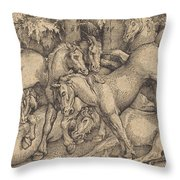 Group Of Seven Horses In Woods Throw Pillow