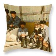Group Of Uzbek Retirees Throw Pillow