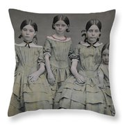 Group Portrait Of Five Sisters Throw Pillow