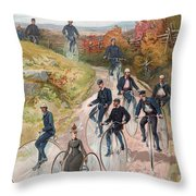 Group Riding Penny Farthing Bicycles Throw Pillow