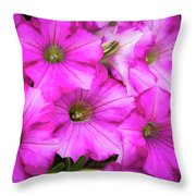 Grouping Of Petunias Throw Pillow