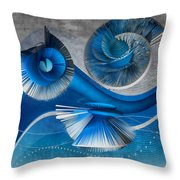 Growing Flowers With Music Blue Throw Pillow by Angelina Tamez