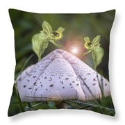 Growing Mushrooms Throw Pillow
