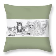 Growing Up Chinese Crested And Powderpuff Throw Pillow by Barbara Keith