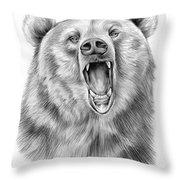 Growling Bear Throw Pillow