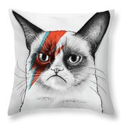 Grumpy Cat As David Bowie Throw Pillow