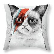 Grumpy Cat As David Bowie Throw Pillow