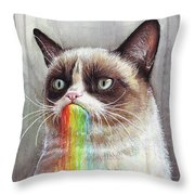 Grumpy Cat Tastes The Rainbow Throw Pillow