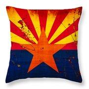 Grunge And Splatter Arizona Flag Throw Pillow
