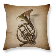 Grunge French Horn Throw Pillow